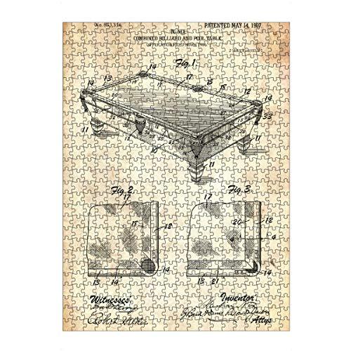artboxONE Ravensburger-Puzzle L (500 Teile) Sport Billardtisch Patent (Antik) - Puzzle Billard poolbillard Pool