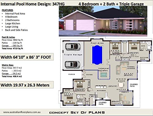 4 Bedroom House Plan with Internal Pool and Triple Garage - Concept House Plans: Concept plan includes detailed floor plan and elevation plans (English Edition)