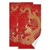 Mnsruu Toallas de baño con diseño de dragón dorado chino, secado rápido, altamente absorbentes, toalla súper suave para deportes, spa, viajes, hotel, yoga 36,5 x 72 cm (2 unidades)