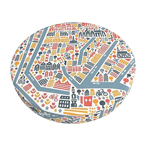 Round Bar Stools Cover,Amsterdam Stadtplan,Stretch Chair Seat Bar Stool Cover Seat Cushion Slipcovers Chair Cushion Cover Round Lift Chair Stool
