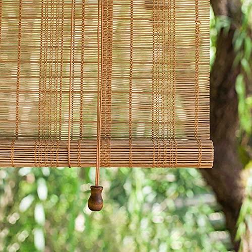 LHF123 Natural Persiana Enrollable De Bambú,Cortina Estor Enrollable de Bambú,Tasa De Sombreado 45%, para la Decoración de Particiones Domésticas,Personalizable (110x120cm/43x47in)