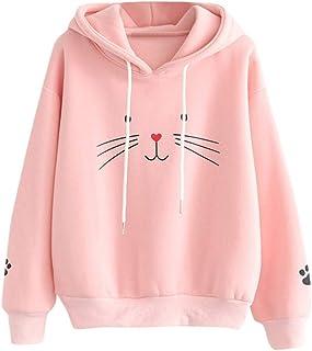 Sudaderas Tumblr Chica Gato Animal Patrón Casual Camiseta con Capucha y Manga Larga Tops Ropa Mujer Niña Otoño e Invierno