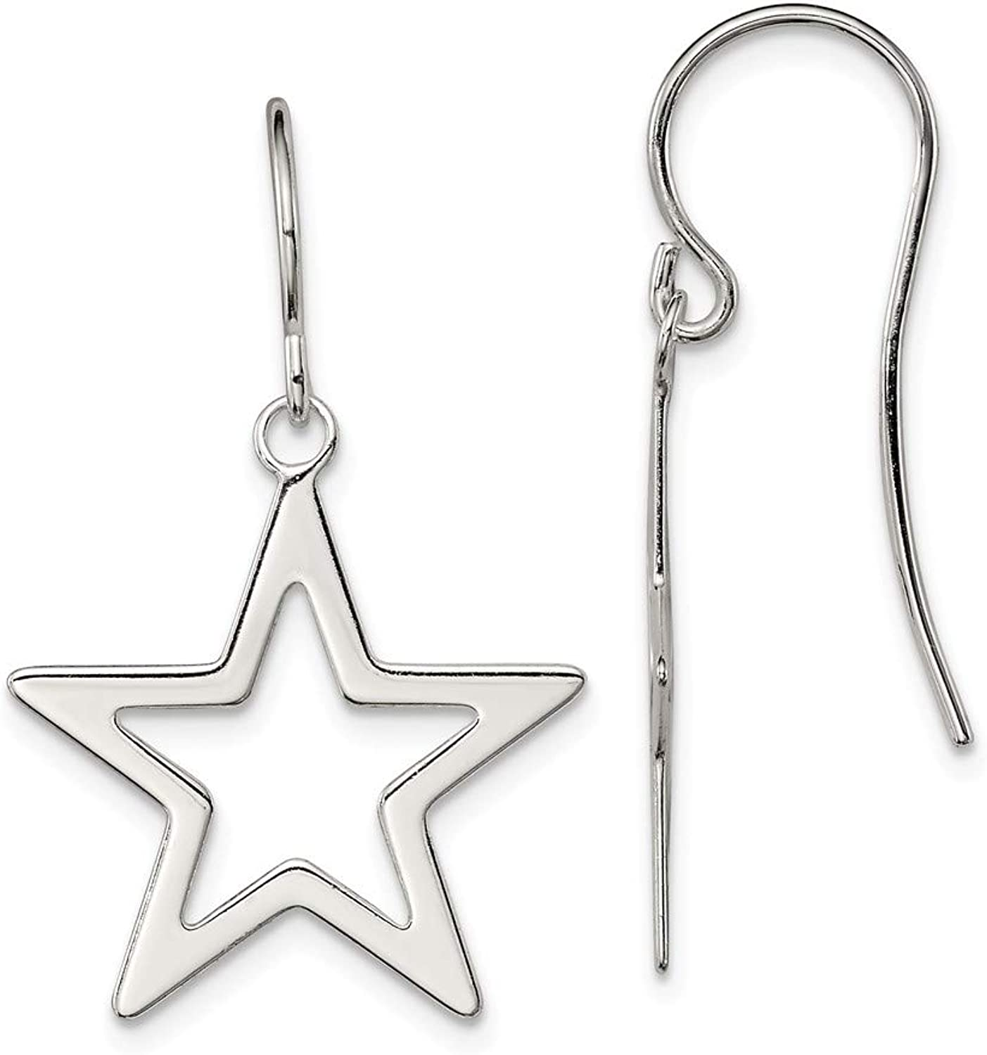 Beautiful Sterling silver 925 sterling Sterling Silver Polished Star Dangle Earrings