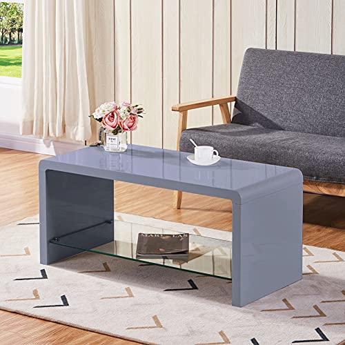 GOLDFAN Tavolino da Salotto Piano del Tavolo Rettangolare Lucido Adatto per Soggiorno e Camera da Letto Design Moderno, Grigio 100 * 45 * 45 CM