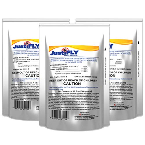 JustiFLY Champion USA Feedthrough Cattle Fly Control, 6 Pack | Non-Toxic Larvicide. Controls All Four Fly Species That Affect Cattle. Over 50 Million Head Treated