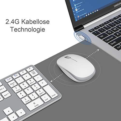 OMOTON Tastatur Maus Set Kabellos, 2.4 GHz Wireless Funktastatur mit Maus. Für Windows PC/Laptop/Smart TV, Deutsches QWERTZ-Layout