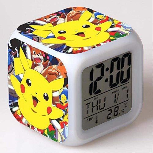 W-JIUJIA Pokemon Clock Pokemon Wecker Wecker Pikachu Bunte Pokémon Wecker Kreative Geschenke