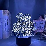 3D Illusion Lamp Anime Sword Art Online Kirito y Samovar,3D LED Luz Nocturna para Niños, 7 Colores Cambian con Control Remoto, Regalos para Niños Niñas