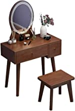 Solid Wood Dressing Table Modern Minimalist Makeup Table and Stool Combination Household Small Apartment with Light Net Re...