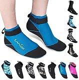 Water Socks Neoprene Socks Beach Booties Shoes 3mm Glued Blind Stitched Anti-Slip Wetsuit Boots Fin Swim Socks for Water Sports Outdoor Activities (3mm Low Cut/Blue, M(Men 8-9,Women 9-10))