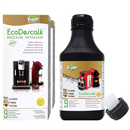 EcoDescalk Ökologisches Konzentrat (2x9 Entkalkungsvorgänge). 100% Natürlicher Entkalker. Entkalkung Reiniger für Kaffeemaschinen. Alle Marken. Entwickelt in DE.