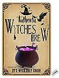 Placa decorativa de hierro con texto 'Witches Brew It'S Wickedly Good' para Halloween, 20,3 x 30,5 cm, para hogar, cocina, baño, granja, jardín, garaje, citas inspiradoras, decoración de pared