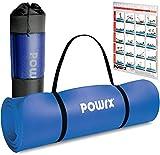 POWRX Tappetino Fitness Antiscivolo 190 x 80 x 1,5 cm - Ideale per Yoga, Pilates e Ginnastica - Extra Morbido e Spesso - Ecocompatibile con Tracolla e Sacca Trasporto + Poster (Blu Scuro)