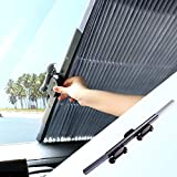 Retractable Windshield Sun Shade, RUN STAR Adjustable Sun Visor Protector Sunshade | Keep Your Vehicle Cool | Block Heat and UV Rays | Easy to Use | Fits Most Windshields (47 x 63 Inches )