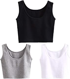 Short Yoga Dance Athletic Tank Crop Tops Shirts for Women or Teens(3 Pack)