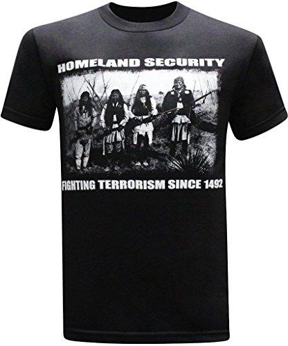 Homeland Security Fighting Terrorism Native American Indian Men's T-Shirt - (X-Large) - Black