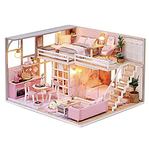 [リトルスワロー] パステル ピンク リアルでかわいい小物が一杯 ミニチュア ドール ハウス DIY 手作り 模型 キット セット (スリープドッグルーム)