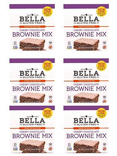 Bella Gluten-Free Chocolate Brownie Mix Premium Casein Free Healthy Flour, 10.5 oz (6 Pack)