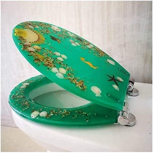 Toilet Lid Tapa de Inodoro, Tapa de Inodoro Serie de Resina de Resina Asiento de Inodoro con Cobertura Efectos de Estrella de mar y Arena (Color : Green, Size : BottomLock)