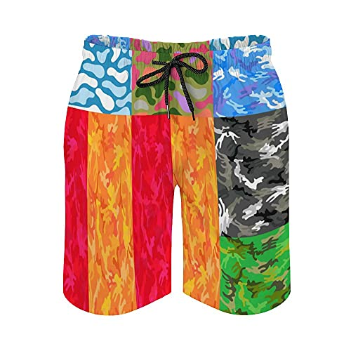 MayBlosom Pantalones cortos de playa para hombre, juego de lunares de camuflaje de secado rápido, trajes de baño casuales hawaianos para fiestas de día festivo con elástico