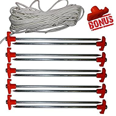 ABCCANOPY Tent Stake Pegs Garden Stakes, 10pcs Galvanized Non-rust 10'' Pop up Pergolas Canopy Accessories Gazebo Accessories Peg Stakes with Orange Stopper Bonus 4pcs 10ft Ropes & 1 PVC top