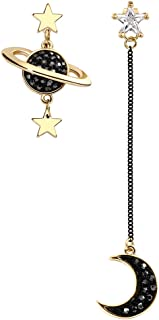 GooNight Asymmetrical Black Moon and Star Dangle Earrings Gold Plated Cubic Zirconia Sterling Silver Jewelry for Women(Original Sold by GooNight Store)