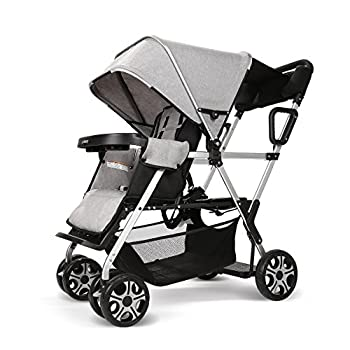 Double Stroller Convenience Urban Twin Carriage Stroller Tandem Collapsible Stroller All Terrain Double Pushchair for Toddler Girls and Boys Stable Stroller Frame with Bag Organizer  Oxford Grey