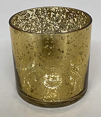 "Floral Supply Online - 4"" Tall x 4"" Wide, Mercury Gold - Glass Cylinder Vase for Weddings, Events, Decorating, Arrangements, Flowers, Office, or Home Decor."