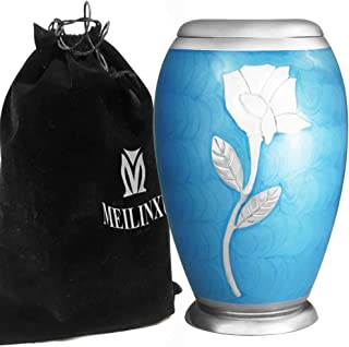 Cremation Urn for Human Ashes Adult - Brass Funeral Urn for Women or Men - Hand Engraved Silvery Sunflower Large Urn Metal - Display Burial At Home or in Niche at Columbarium ( Dad or Lover, Blue Rose