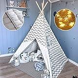 Tenda Bambini- Teepee per Bambini in Tela di Cotone con Coperta & Fata Luci- 1,65 m Alto- Grigio Chevron- Giocattolo per Ragazzi & Bambina di 3,4,5,6,7 Anni