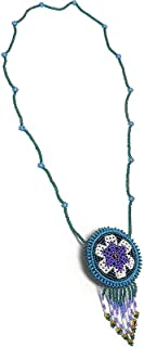 Seed Bead Round Flower Beaded Dangle Fringe Medicine Pouch Coin Purse Floral Necklace