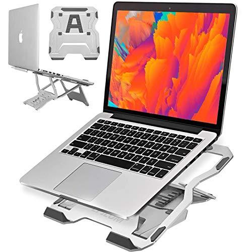 Epilum Soporte Portátil, Soporte para Portátil Aluminio Plegable Soporte Ajustable Múltiples Angulos con Ventilación Térmica para 10-17 Pulgadas Macbook, iPad, Cuaderno, Tableta