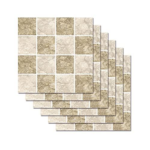 6 Piezas De Pegatinas De Azulejos De Mosaico para Decoración del Hogar Pegatinas De Piso Impermeables De Bricolaje para Pegatinas De Pared De Dormitorio Y Baño (7.87 * 7.87 Pulgadas)