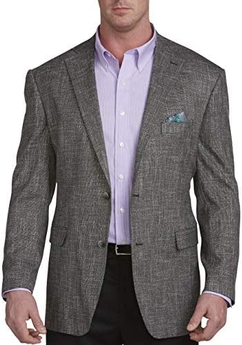 Oak Hill by DXL Big and Tall Jacket Relaxer Black White Textured Sport Coat Executive Cut product image