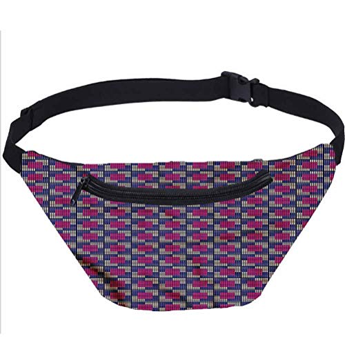 Geometric Travel Fanny Bag,Blue Toned Squares Waist Pack for Adult Coworker