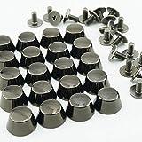 底鋲 真鍮製 ネジ式 台形型 バッグ カバン レザークラフト 20個セット (ブラック)