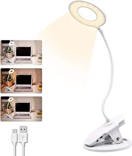 HDCOOL Clip on Reading Light, 3 Colors and Stepless Dimmable Clip on Light, Clamp Bed Night Light for Kids, USB Rechargeable Bedside Table Clip Lights, Portable Eye Protect and Adjustable (White)