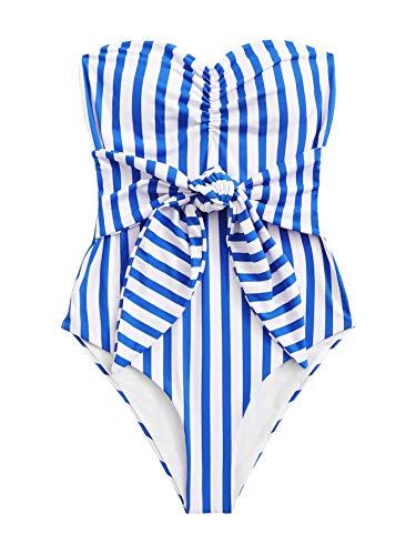 SweatyRocks Women's One Piece Bandeau Striped Knot Front Swimsuit Bathing Suits Blue S