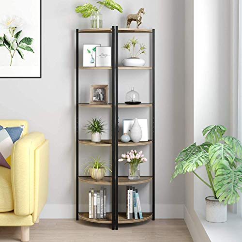 """O&K FURNITURE 5-Tier Ladder Shelf, Ladder Shelves, Industrial Style Bookcase, Leaning Bookcases and Book Shelves, Modern Storage Rack and Shelving Unit-72""""H x 20""""W, Rustic Brown Finish,(1-pc)"""