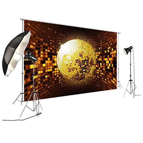 Disco Banner Polyester Stoff Hintergrund für Party Dekoration Gold Discokugel und Lichter Hintergrund FT-7313