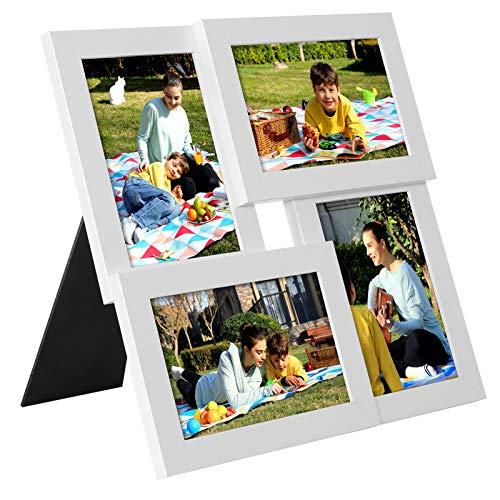 SONGMICS Collage di Cornici per 4 Foto, per 10 x 15 cm, Galleria per Esposizione Foto a Parete, Pannello di Vetro, Venatura di Legno, Bianco RPF25WT