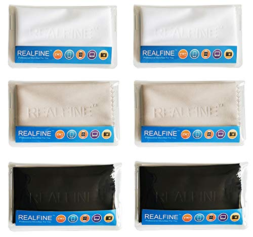Glasses Cleaning Cloths with Individual Reusable Pouch, Safe for All Eyeglass, Electronic Screens and Camera Lens,Non-Scratch REALFINE Microfiber Lens Cleaner Cloth (Pack of 6)