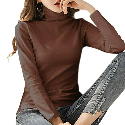Fintass Vrouwen Coltrui Basic Tops Lange Mouwen Stretch T-shirt Slim Warm Jumper Casual Basic T-shirt Vrije tijd Jumper