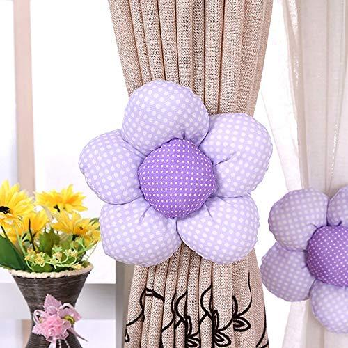 Betrothales Un Par Creativo Girasol Esponja Moderna Cortina Hebilla Cortinas Tiebacks Y Tela Cortinas Decoración Azul (Color : Violett, One Size : One Size)