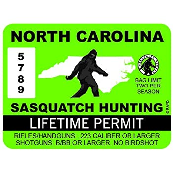 "RDW North Carolina Sasquatch Hunting Permit - Color Sticker - Decal - Die Cut - Size: 4.00"" x 3.00"""