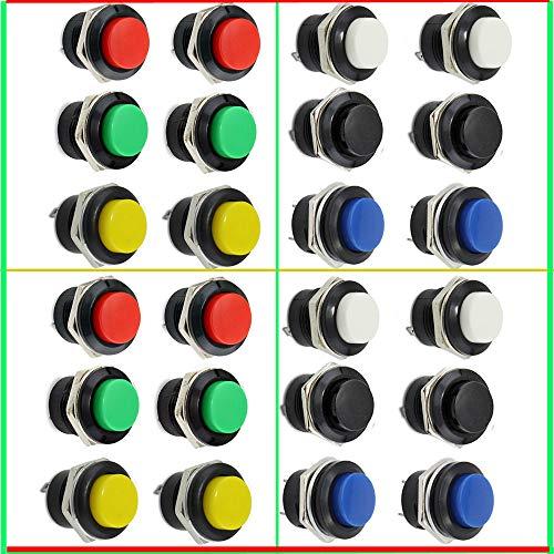 RUNCCI-YUN Interruptor de botón pulsador 24 piezas encendido/apagado momentáneo interruptor de encendido rojo verde azul amarillo blanco negro redondo capac 6 A/125 V 3 A/250 V