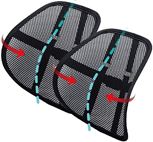 Lumbar Back Support   Mesh Back Cushion 2 Pack Lower Back Support, Double Mesh Lumbar Cushion Air Flow Breathable Back Support Cushion for Use in Car Home and Office