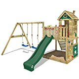 WICKEY Wooden Climbing Frame Smart Lodge 120 with Swing Set and Green Slide, Garden Playhouse for Kids with Sandpit, Climbing Ladder & Play-Accessories