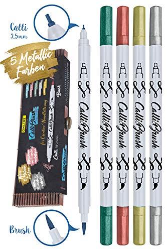 ONLINE Set Calli.Brush Metallic Double-Tip Pens, Pinsel- und Kalligrafie-Spitze, fünf metallic-Farben, Brushpen in Bamboo Etui