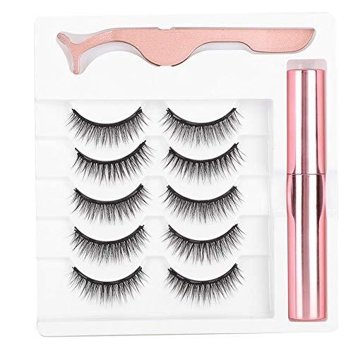 Magnetische valse wimpers + magnetische vloeibare eyeliner + pincet, herbruikbare wimpersverlenging Wimper make-up gereedschapset (# 035)
